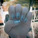 Light Blue Plaid nails