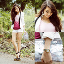 Double-layered Color Block White Shorts