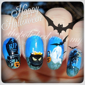 I hope everyone has a Happy and safe Halloween!! ... #nailartoct -ghosts, graveyard and trick or treat. http://www.thepolishedmommy.com/2013/10/trick-or-treat-at-graveyard.html