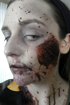 Nasty splitting wound in my cheek, part of my look for the Trash Film Orgy Zombie Walk in Sacramento.
