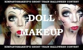 KimpantsMakeup's Ghost Train: Week 2 - Broken Doll Halloween Makeup Tutorial