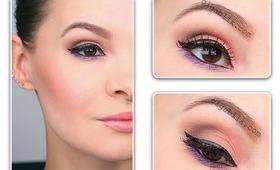 Coral & Brown make up look