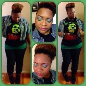Jean Jacket-Rainbows  Green Tank Tops- Dots  Ruched Jeans- Dots  Bob Marley T-Shirt- Burlington CF Wedges- Pink & Pepper