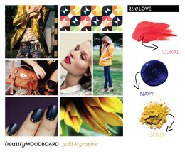 Beauty Mood Board: Gold & Graphic