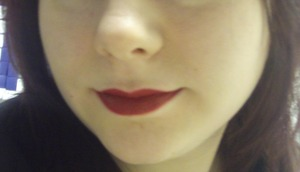 Dark red lip that I wore for Christmas