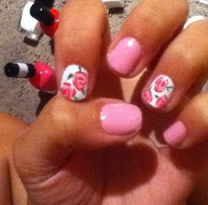 Pink floral nails by me!