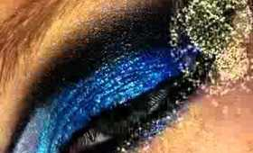 Sexy & Glittery Blue, Black & Plum Cut Crease New Years Look!!