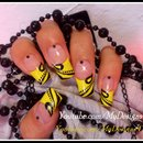 Easy, Black and Yellow Fall Nail Art.