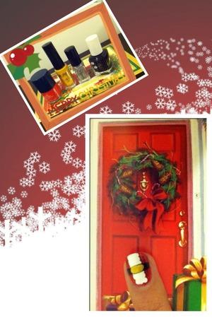 "Inspired by Mary S. ""Santa Nails"" designs. I used Mary Kay Coral Stone polish, Jordana Pop Art Yellow, Finger Paints Santa Kisses, Essie Licorice and Shu Uemura Silver Glitter"
