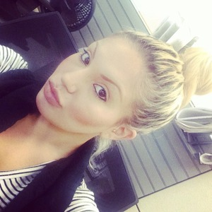 No lashes today super lazy at work hair up