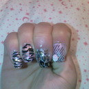 Pink And Black Casual Motive Nails ;)