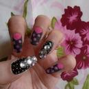 Velvet Polka Dots And Bling Nails