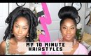 I'M LAZY WHEN IT COMES TO MY HAIR! 10 minute hairstyles for natural hair with weave