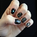 Sequin Heart Nails/Sparkles