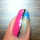 Half glittered & Half pink