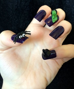 *Spider, Witches hat & Cauldron Handmade*  Products Used: On nails: •Barry M 'Gelly' nail paint in Plum 405.   •Rimmel finishing touch ultra shine top coat.  Other nail varnishes used: •China Glaze 544 liquid leather (black). •China Glaze 023 white on white. •Rimmel nail varnish 236 green grass. •Nail Fix red.