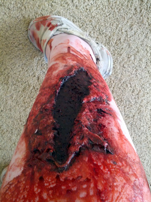 Not the best angle for a photo of this guy. Big nasty open wound on my calf, part of my look for the Trash Film Orgy Zombie Walk in Sacramento.