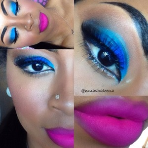 This blue shadow is from Magnolia Makeup called Hydrate. Idk if they still have it though.   I filmed a tutorial for this look on my youtube channel www.youtube.com/beautysosweet08   Follow me on Instagram @muashaleena Xo