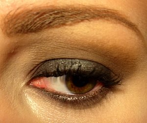 """Using shadows from the Balm's """"Balm Jovi"""" palette  -""""Adagio"""" on the brow bone and inner corner -""""Allegro"""" in the crease and blended up towards the brow -""""The Stroke"""" all over the lid and smudged onto lower lashline -""""Third Eye Blinded"""" on the inner corner to high light"""