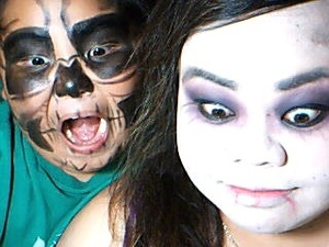 Brother and I turned into a skull head and a zombie.