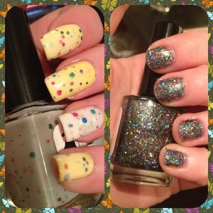 Check out some Easter nails that my sister-in-law and her sister did using It's My Party! (left - one coat over a yellow base) and Pretty As A Peacock (right - three coats)