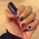 ombre tiger nails
