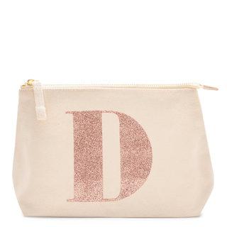Rose Gold Glitter Initial Makeup Bag Letter D