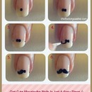 cute moustache nails steps