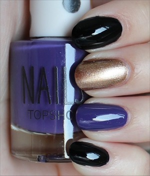 Used Deborah Lippmann Fade to Black, Topshop Glimmer & Topshop Late Show. See more of my swatches here: http://www.swatchandlearn.com/nail-art-super-bowl-baltimore-ravens-nails/