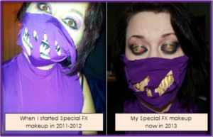 Left: first time I attempted Mileena makeup. Right: second time I attempted Mileena makeup.  I didn't follow a tutorial either time. I used the same nails (I purchased a huge packet back then specifically for this look) and the same face paints. That's also the same costume.