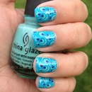 Swirly Blue and Purple stamped nails