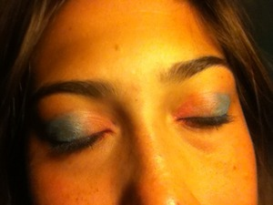 A bright pink and blue. I was inspired by cotton candy, YUMMY!!