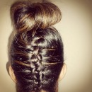 Upside Diwn French Braid & Bun
