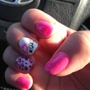 Pink Betsy Johnson nails with lips and cheetah