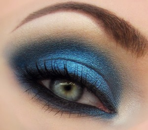 "Closeup of blue smokey eye using the color ""Spellbound"" from Beauty From the Earth and Urban Decay's Naked palette!"