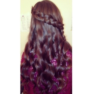 Curl hair around barrel without using clamp, braid hair diagonally, only adding pieces in from the top of head
