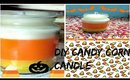 DIY CANDY CORN CANDLES WITHOUT CANDLE WAX