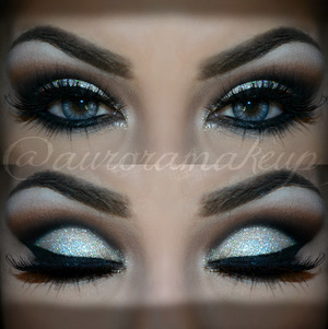 instagram @auroramakeup FB:  https://www.facebook.com/AuroraAmorPorElMaquillaje  Details ★  Brows have Dip Brow Pomade in EBONY by @anastasiabeverlyhills  EYE MAKEUP with @motivescosmetics by @lorenridinger products :   -Eye shadow base on top and lower eyelids  -Pressed Eye Shadow in BLIZZARD to highlight brow bone  -Pressed Eye Shadow in CAPPUCCINO as transition color on the crease   -Khol Eyeliner in ONIX to mark socket line and blend it out   -Pressed Eye Shadow in ONIX to blend even more the Khol eyeliner applied and setting gel eyeliner applied below lower lashes   -Gel eyeliner in LITLLE BLACK DRESS to line top lashes , waterline and below lower lashes   -Luxe Creme Eye Shadow in GOLD DUST on mobile eyelid   -Glitter Adhesive on mobile eyelid and inner corner   -Glitter Pot in DIAMOND covering mobile eyelid and inner corner   -Lala mineral Volumizing & Legthening mascara in BLACK in top an lower lashes  Lashes are NOIR FAIRY by @houseoflashes  Lenses are Dueba Barbie Tony in Light Gray
