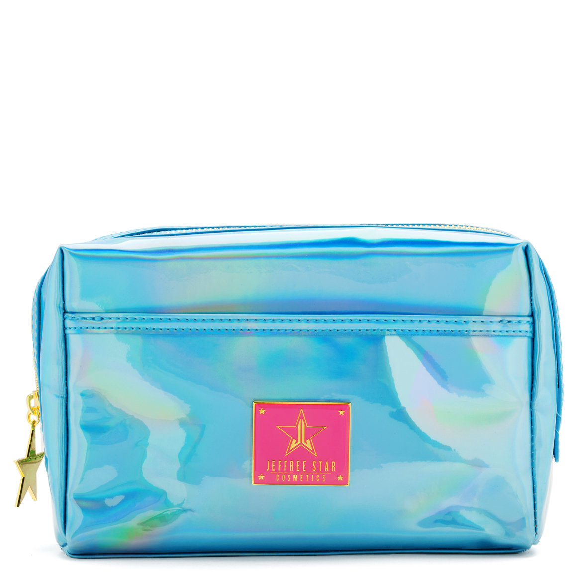 Jeffree Star Cosmetics Makeup Bag Holographic Blue product swatch.