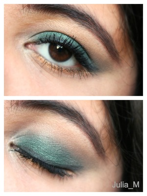 Love how vibrant and perfect this emerald color is for fall! Coppery golden color on lower lash line
