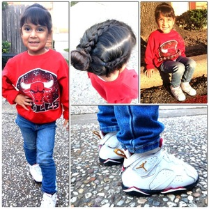Vintage Chicago bulls sweater with Skinny jeans am you can't forget Jordan's !   This is my daughter (: