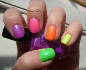 Color Club Electro Candy nail polishes w/ Wet N Wild Hallucinate