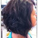 "The new ""Rachel"" haircut and Redken Chromatics Color line!"