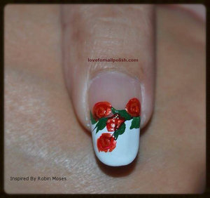 More Pics http://lovefornailpolish.com/romantic-roses-nail-art-robin-moses-nail-art-inspired