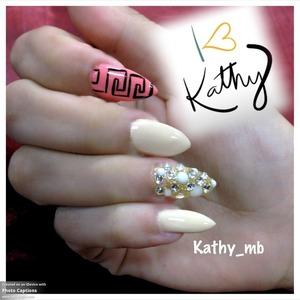 Nude nails, with Swarovski crystals