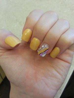 Sandy yellow with rhinestone