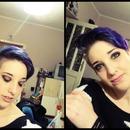 Black eyes,purple hair,and my beuatiful friend ♥