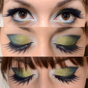 """Peacock  I've used: TheBodyNeeds Atlantis,Chalet Green,Beyond Teal, Blackened Turquoise and Sugarpill Tako The lashes are from claire's cosmetics """"glam lashes"""""""