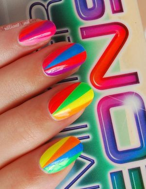 "For this mani I used striping-tape & 8 polishes from China Glazes ""Summer Neons"" Collection http://brilliantnail.se/nagel-blogg"