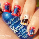 4th of July Red, Blue & White + Eagle Nail Art
